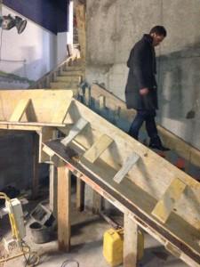 Coffrage, ferraillage d'escalier béton armé