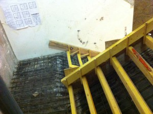 Coffrage et ferraillage d'escalier