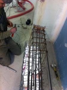 Création de poutre béton armé inversé dans les planchers existants