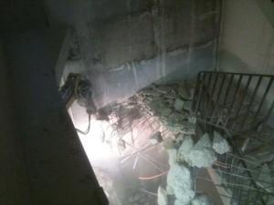 Démolition d'un escalier BA sur 9 niveaux